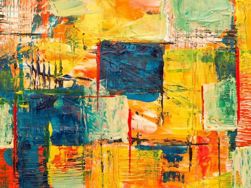 Ein farbenfrohes abstraktes Bild symbolisiert Intuitives Malen mit einfach gemeinsam